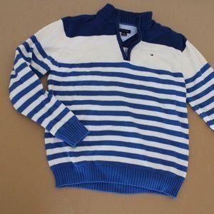 Tommy Hilfiger Blue White Stripe Zipper Sweater